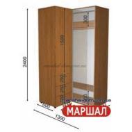 Угловой шкаф-купе+П2/2400 ((800-1300) х 2400 х 600)