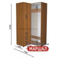 Угловой шкаф-купе+П2/2100 ((800-1300) х 2100 х 600)