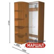 Угловой шкаф-купе+П4/2100 ((900-1300) х 2100 х 600)