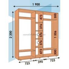 Шкаф купе прямой ШК 04 ВхГхШмм 2200х450х(1900-2700) трехдверный