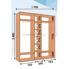 Шкаф купе прямой ШК 04 ВхГхШмм 2400х450х(1900-2700) трехдверный