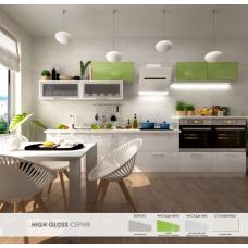 Кухня High Gloss (Хай Глосс) лайм металлик / ультра белый металлик