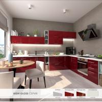 Кухня Хай Глосс / High Gloss феррари глянец / бордо металлик глянец