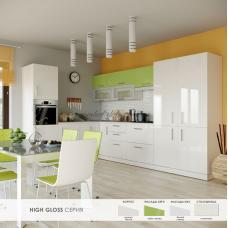 Кухня Хай Глосс / High Gloss лайм глянец / белый глянец