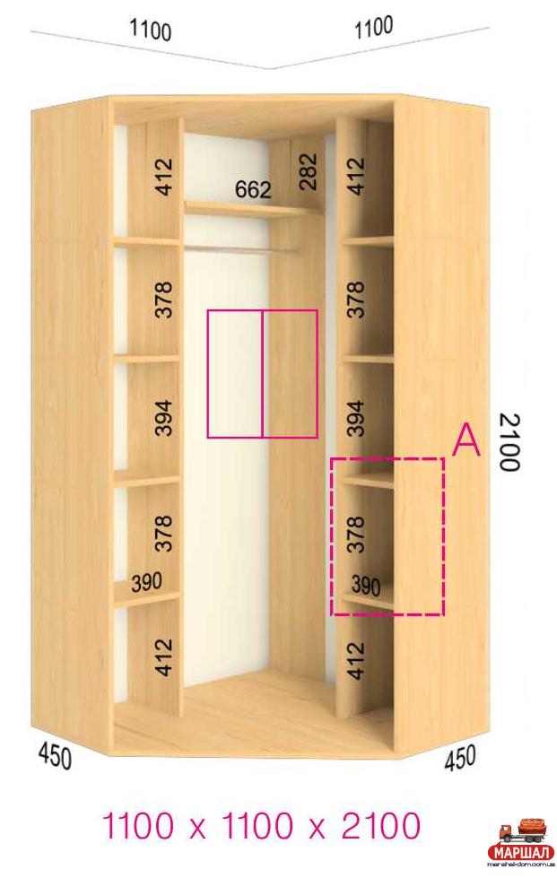Купить угловой шкаф - купе феникс стандарт 1100/110 kult meb.